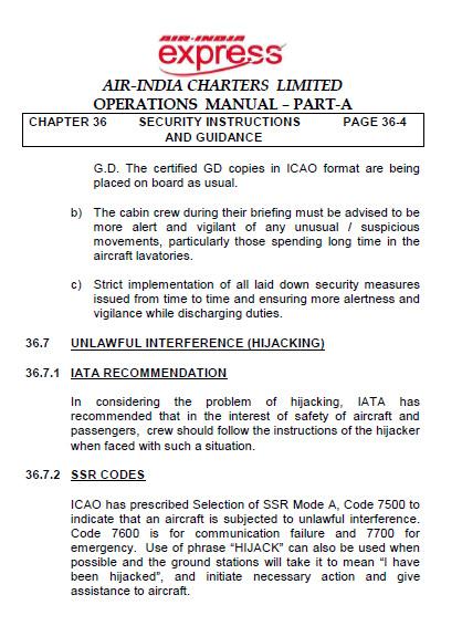 Operations Manual, Air India Charters Ltd
